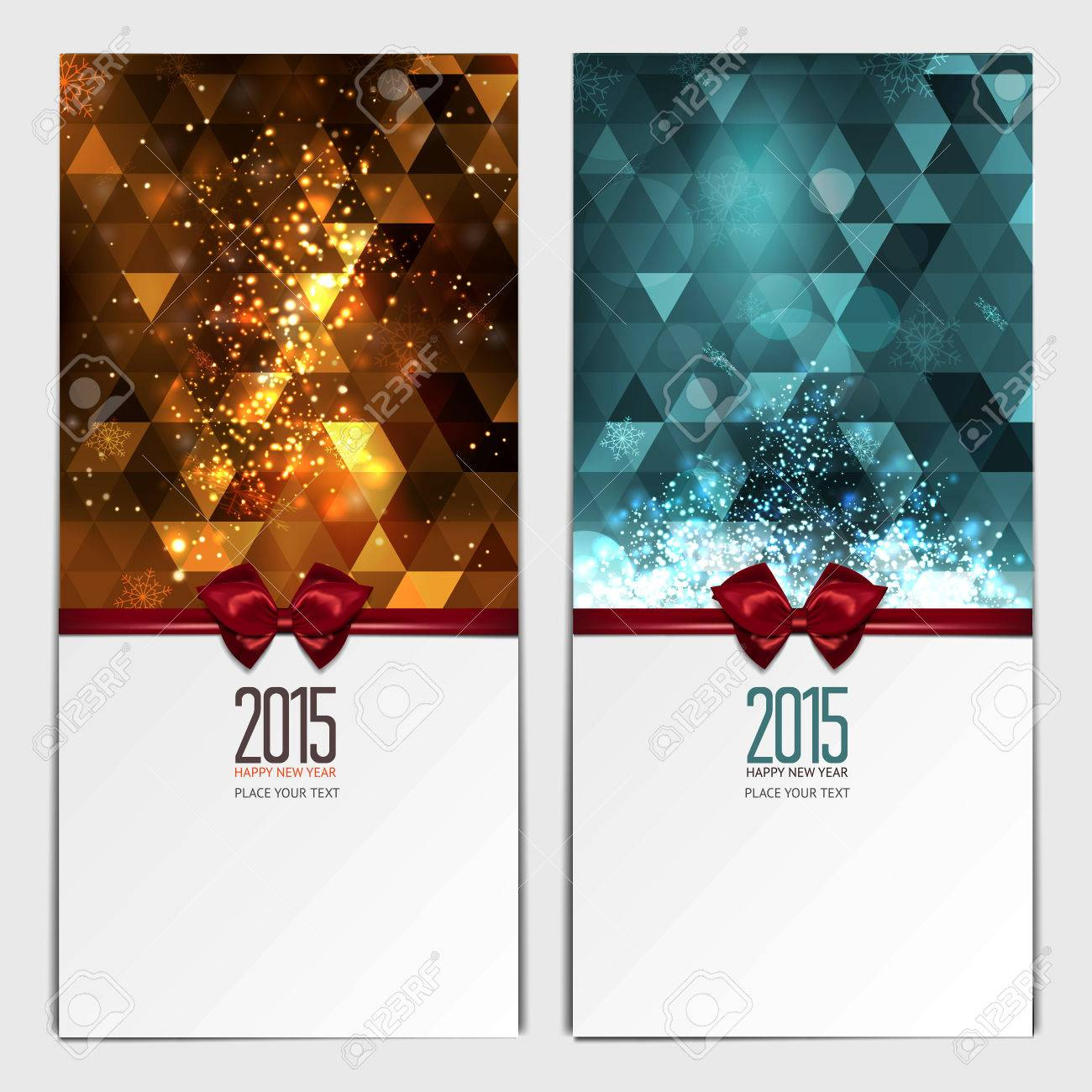 Christmas greeting cards. Place for your text message. Design in modern  Christmas colors.