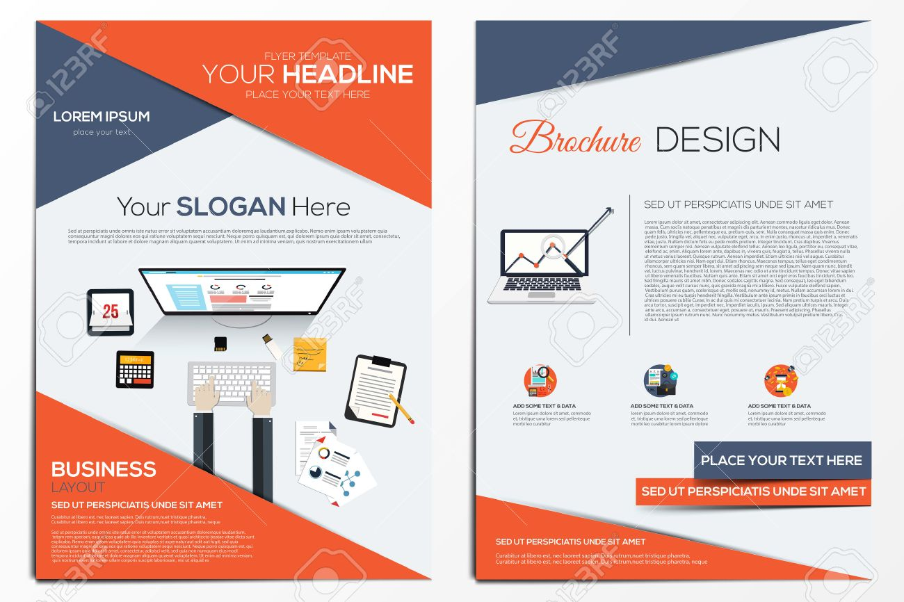 Brochure Design Template Geometric Shapes Abstract Modern - Brochure design template