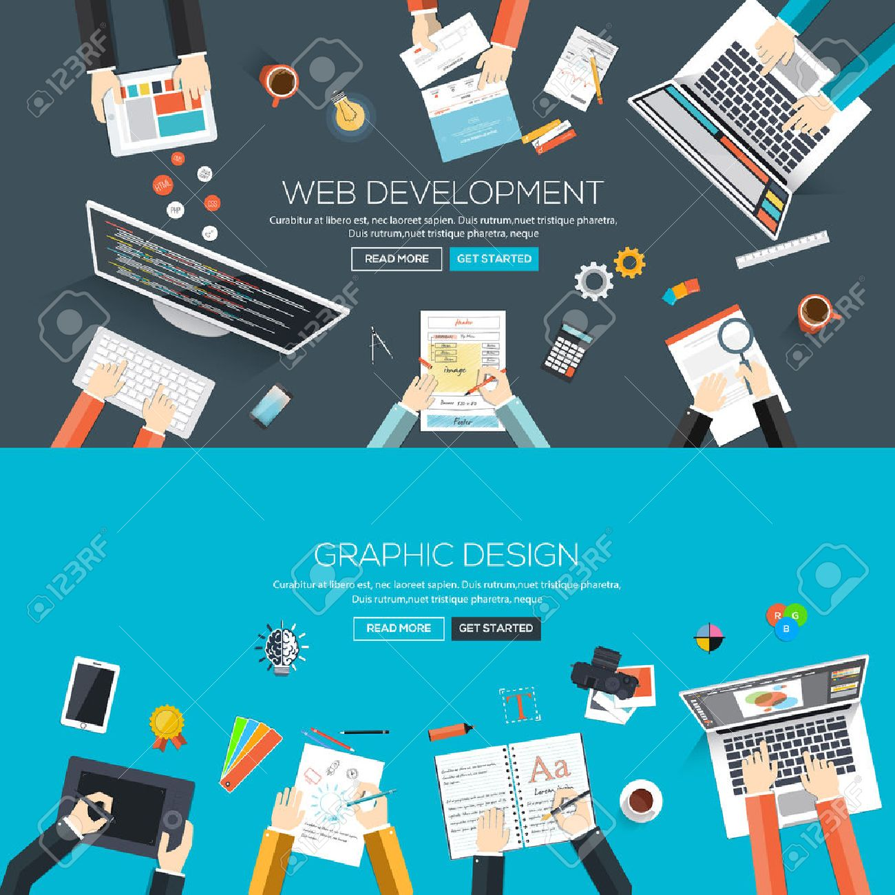 Flat Designed Banners For Web Development And Graphic Design Royalty Free Cliparts Vectors And Stock Illustration Image 38572979