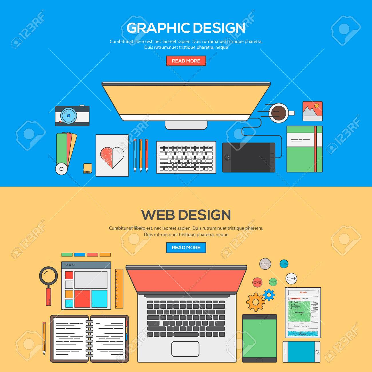 Set Of Flat Line Banner Design Concept For Graphics Design And