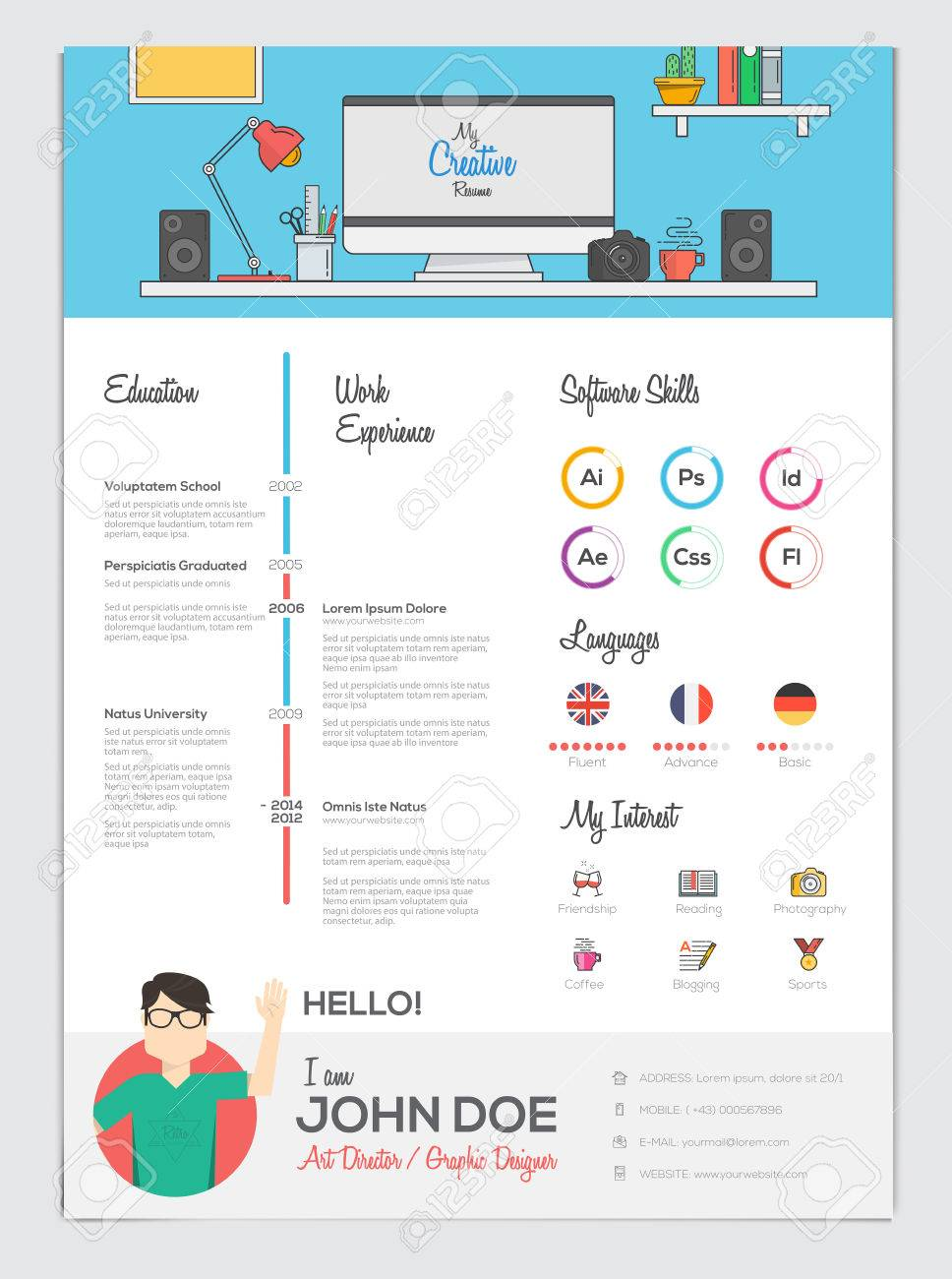 Flat Resume With Infographics Resume Cv Set Vector Royalty Free