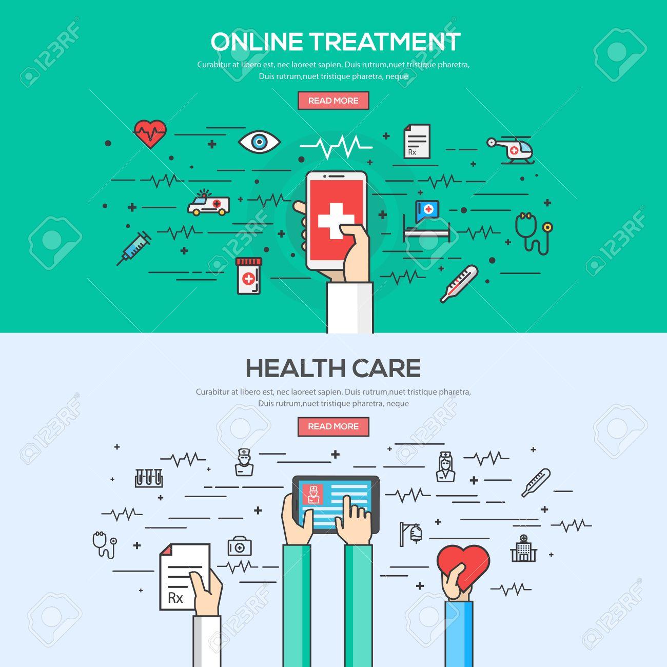 set of flat line color banner design concept for online treatment