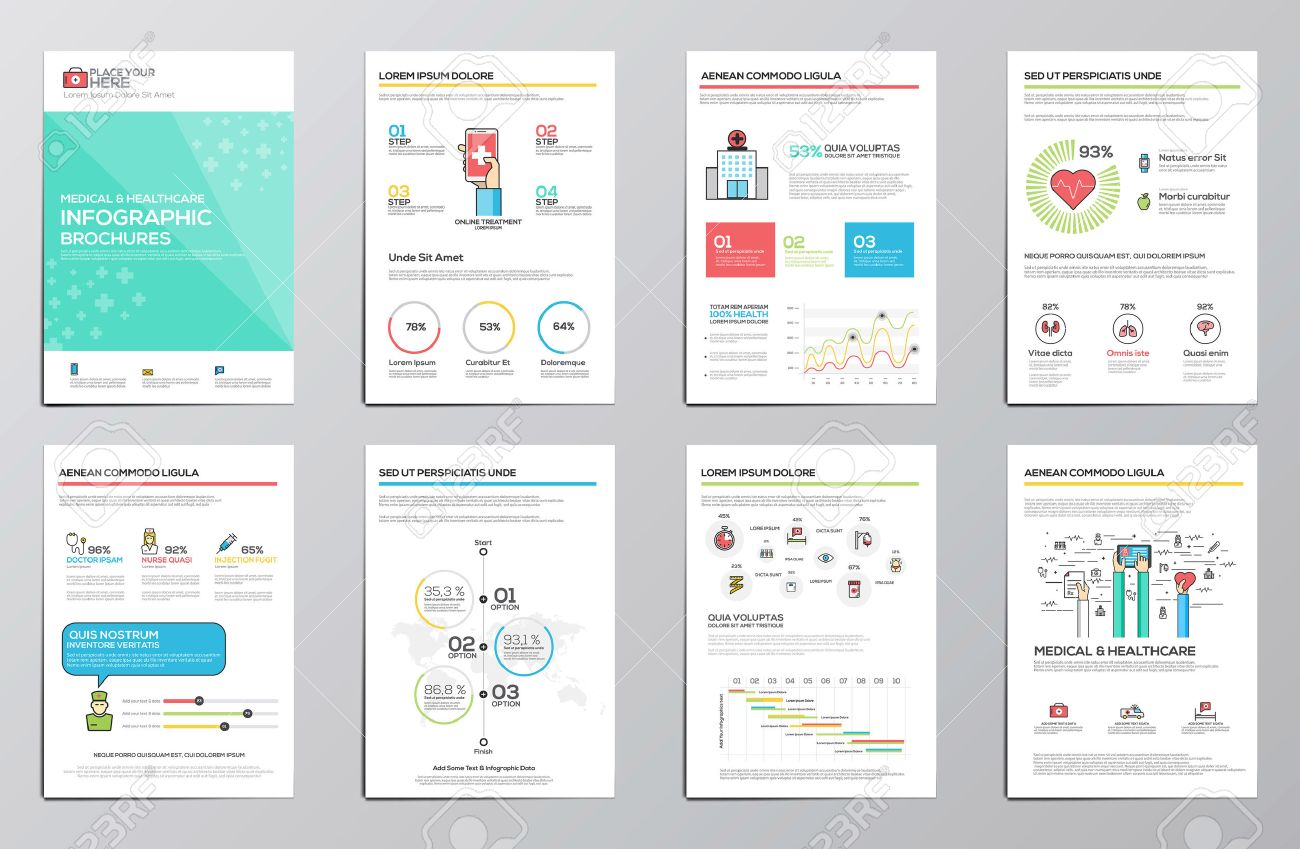 Medical and Healthcare infographics elements for corporate brochures. Collection of modern infographic elements. Flat design. Vector Stock Vector - 46534428