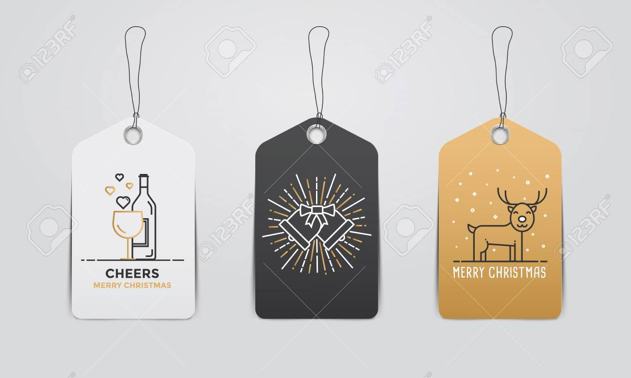 collection of christmas and new year cute gift tags template