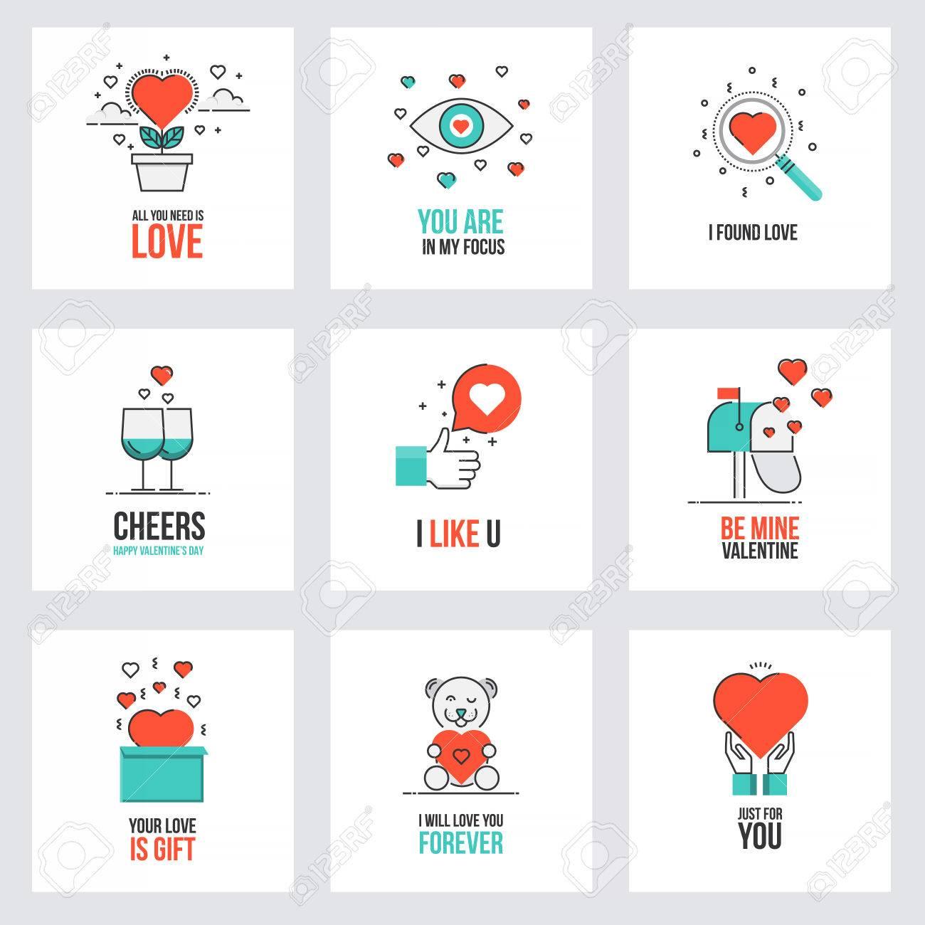 Set Of Flat Line Design Valentines Day Greeting Cards Web Banner – On Line Valentine Cards