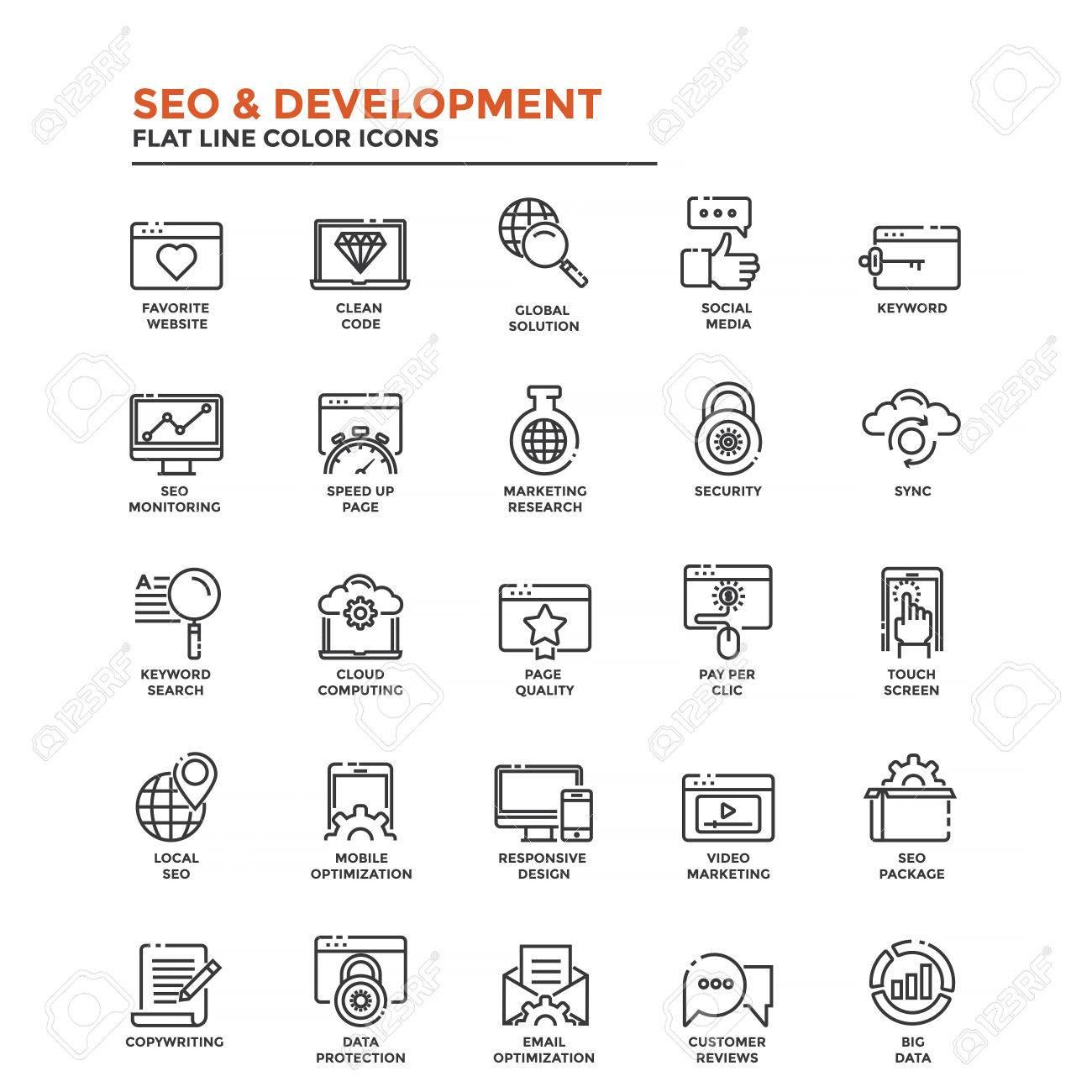 Set of Modern Flat Line icon Concept of Seo,Development , Management,