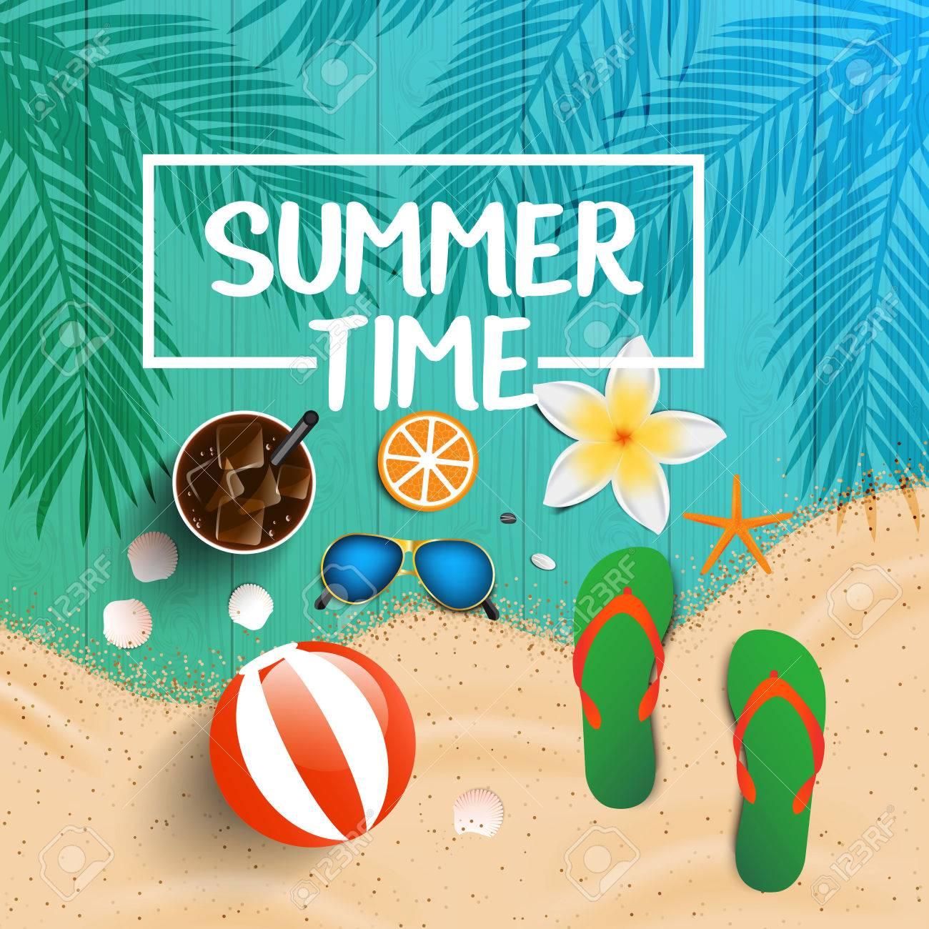 ebc6e52e6e08 Summer Time Background. Top View On Seashells