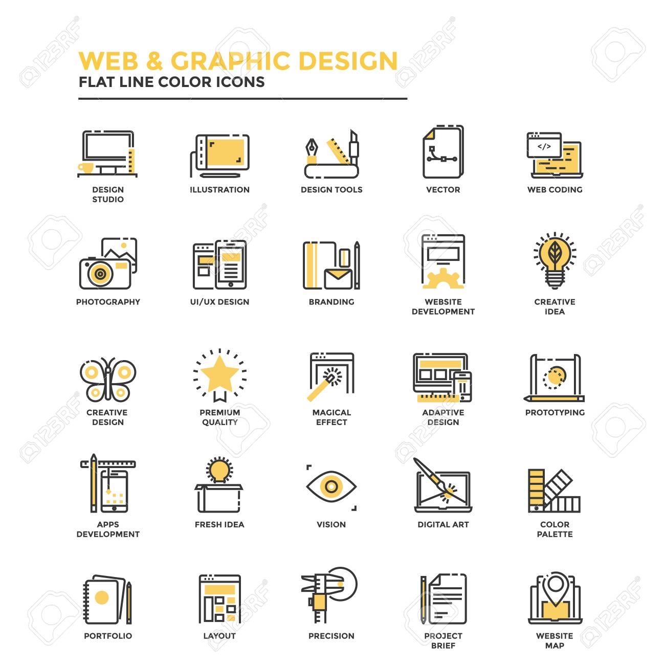 Modern flat design icons for Web and Graphic design, Illustration, Ui Design, Development, etc. Icons for web and app design, easy to use and highly customizable. Vector - 82766129