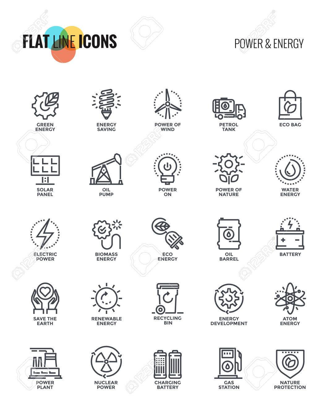 Set of flat line Power and Energy icons suitable for mobile concepts, web application, printed media and infographics projects. Vector Illustration - 86087425