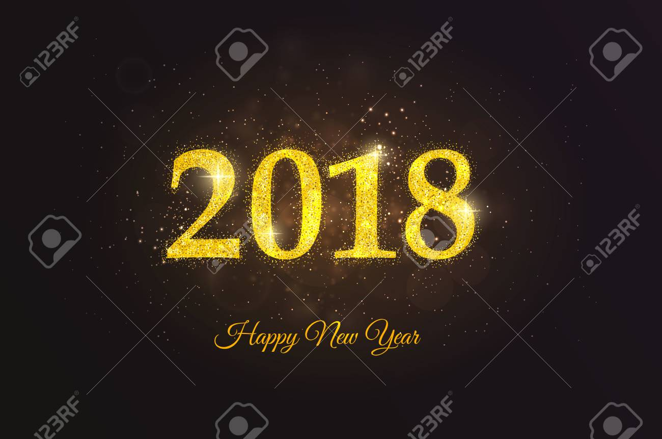 happy new year 2018 golden greeting card for party poster greeting card banner or