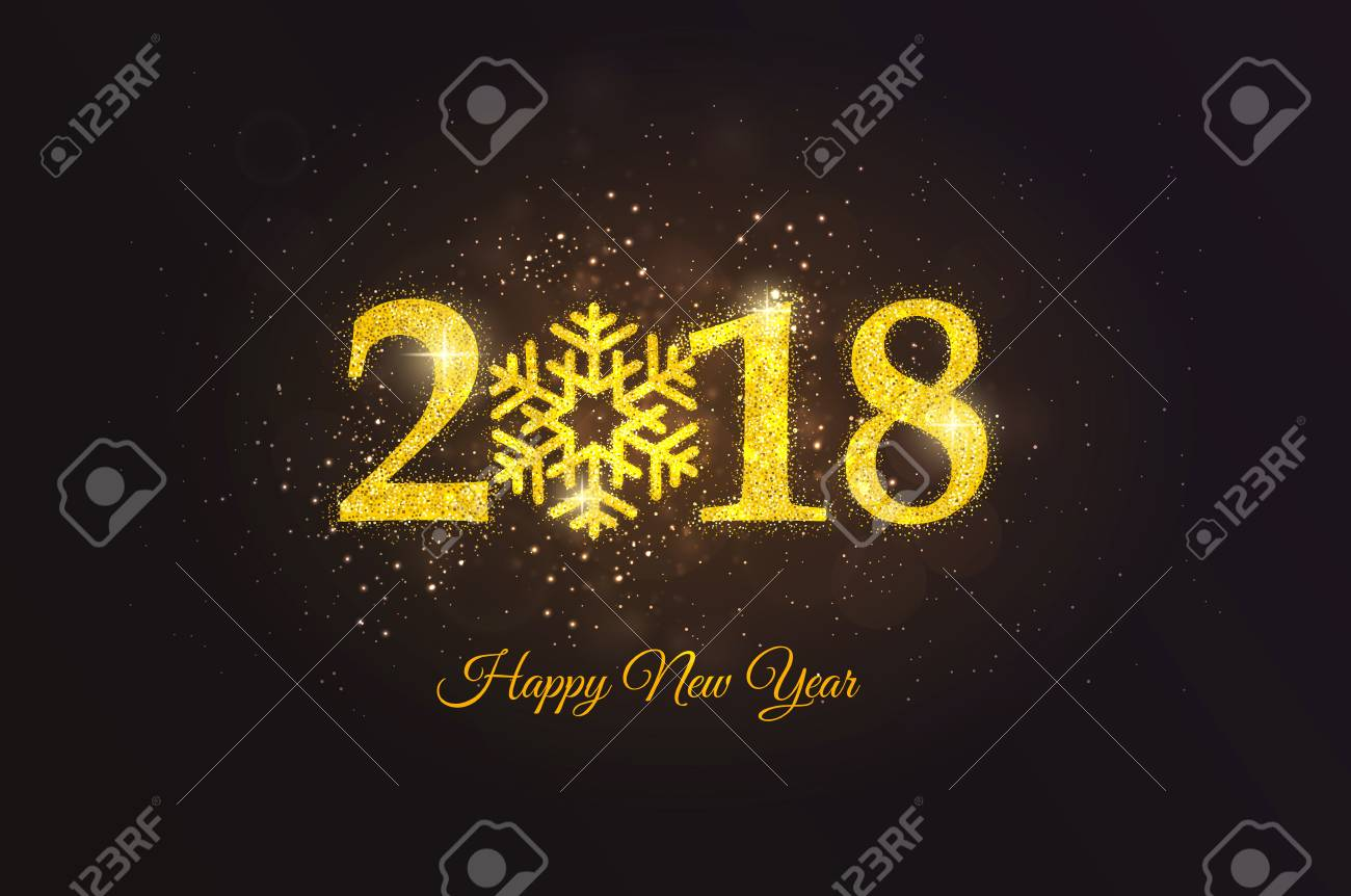 happy new year 2018 golden greeting card party poster greeting card banner or