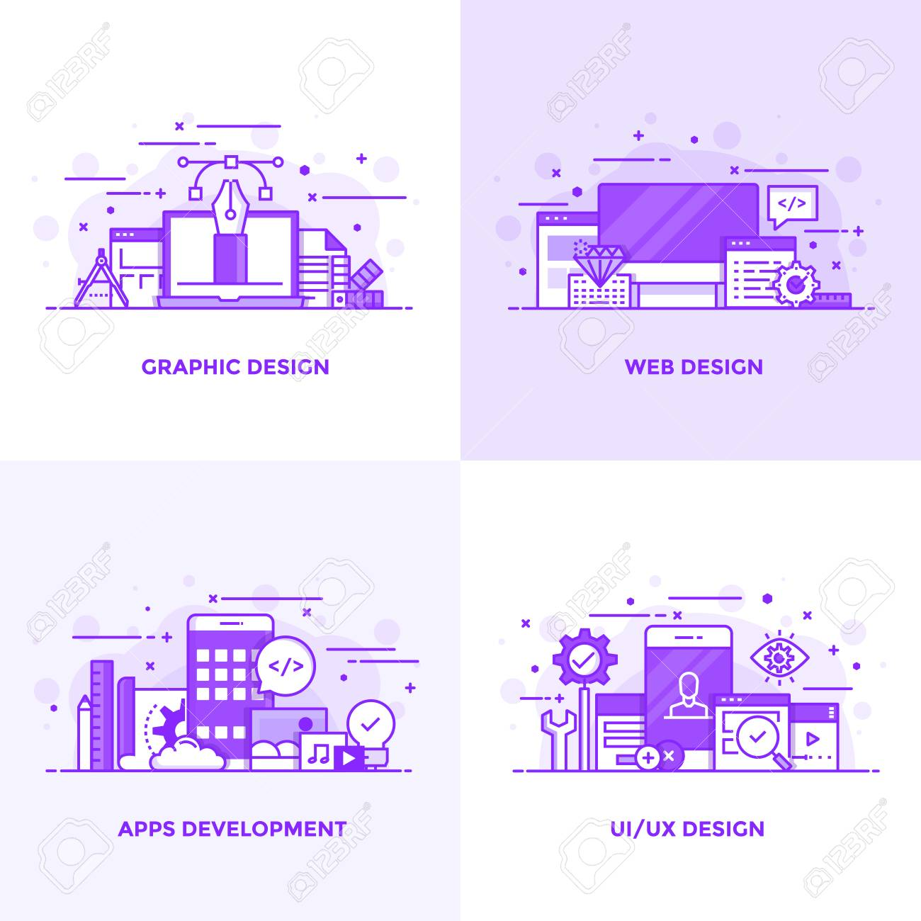 Modern Flat Purple color line designed concepts icons for Graphic