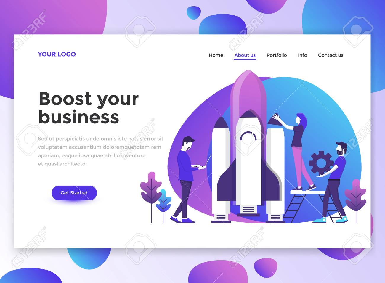 Landing Page Template Of Boost Your Business Modern Flat Design