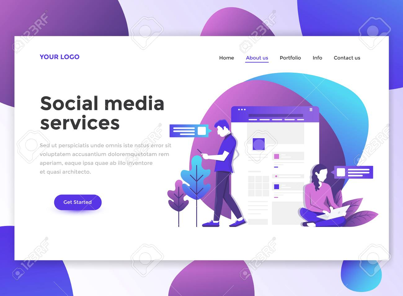 Landing Page Template Of Social Media Services Modern Flat Design Royalty Free Cliparts Vectors And Stock Illustration Image 99990257
