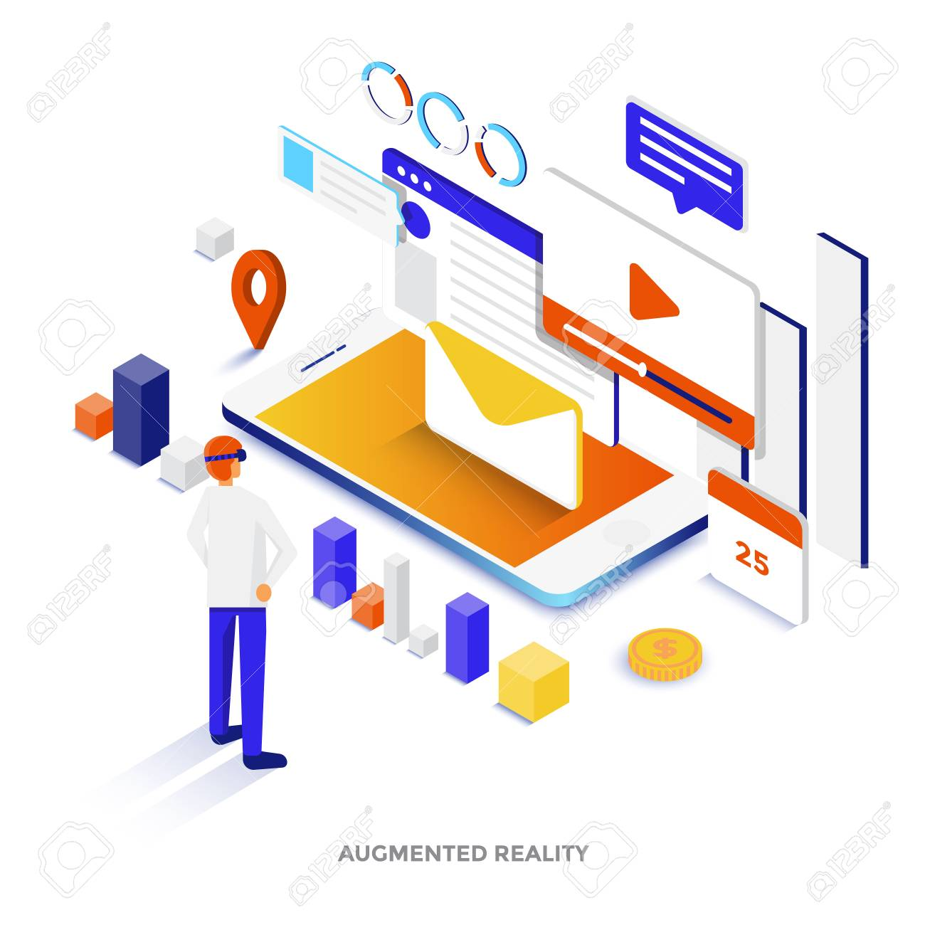 Modern flat design isometric illustration of Augmented reality Can