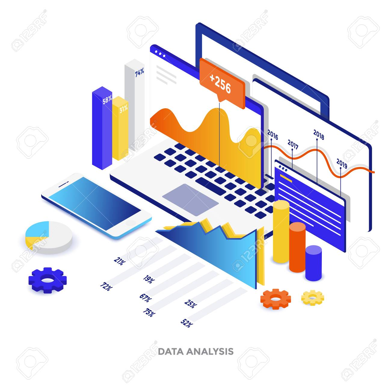 Modern flat design isometric illustration of Data Analysis. Can be used for website and mobile website or Landing page. Easy to edit and customize. Vector illustration - 101300654