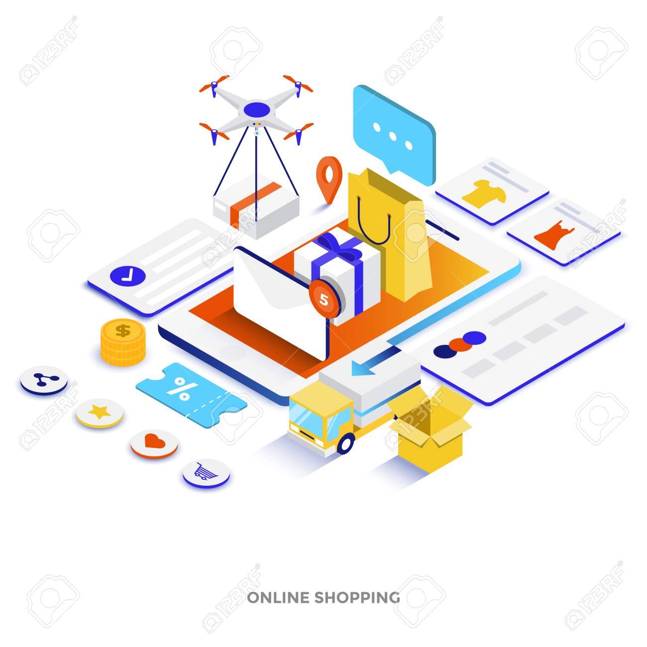 Modern flat design isometric illustration of Online Shopping
