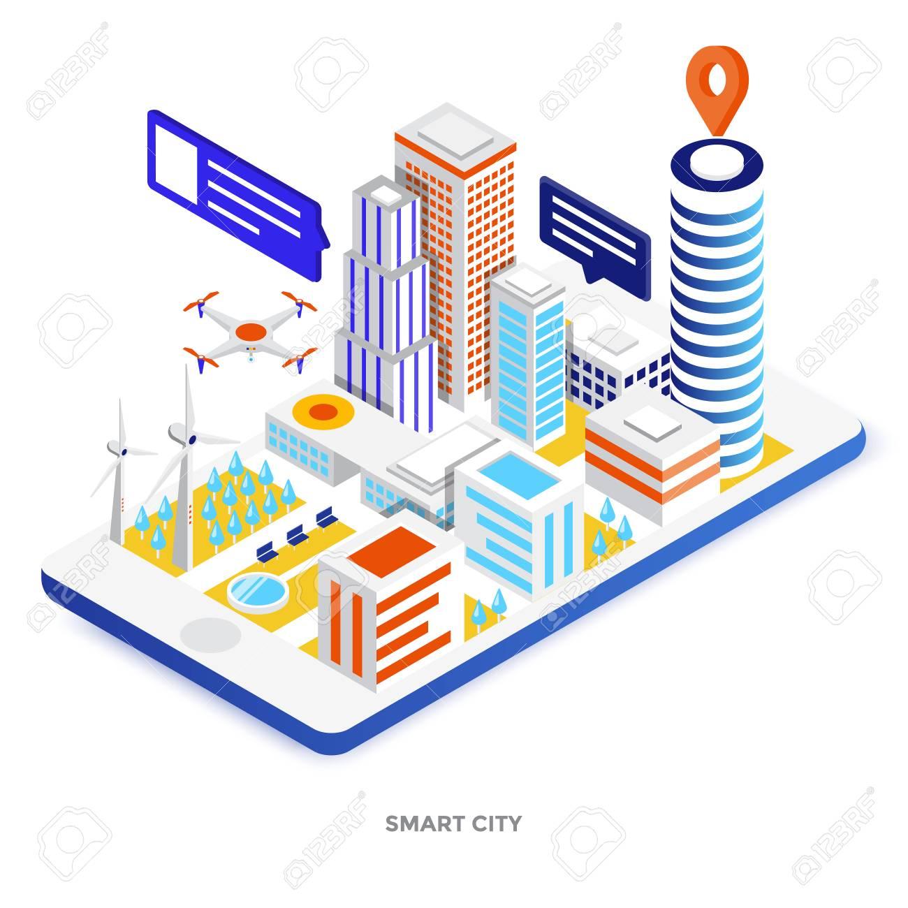 Modern flat design isometric illustration of Smart City  Can