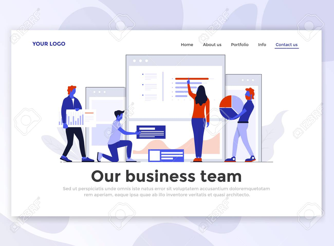 Landing page template of our business team modern flat design landing page template of our business team modern flat design concept of web page design fbccfo Gallery