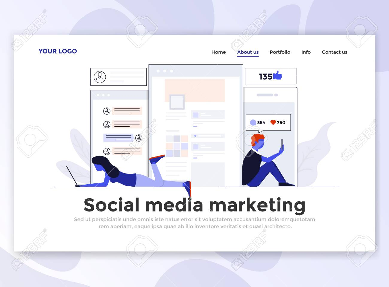 landing page template of social media marketing modern flat
