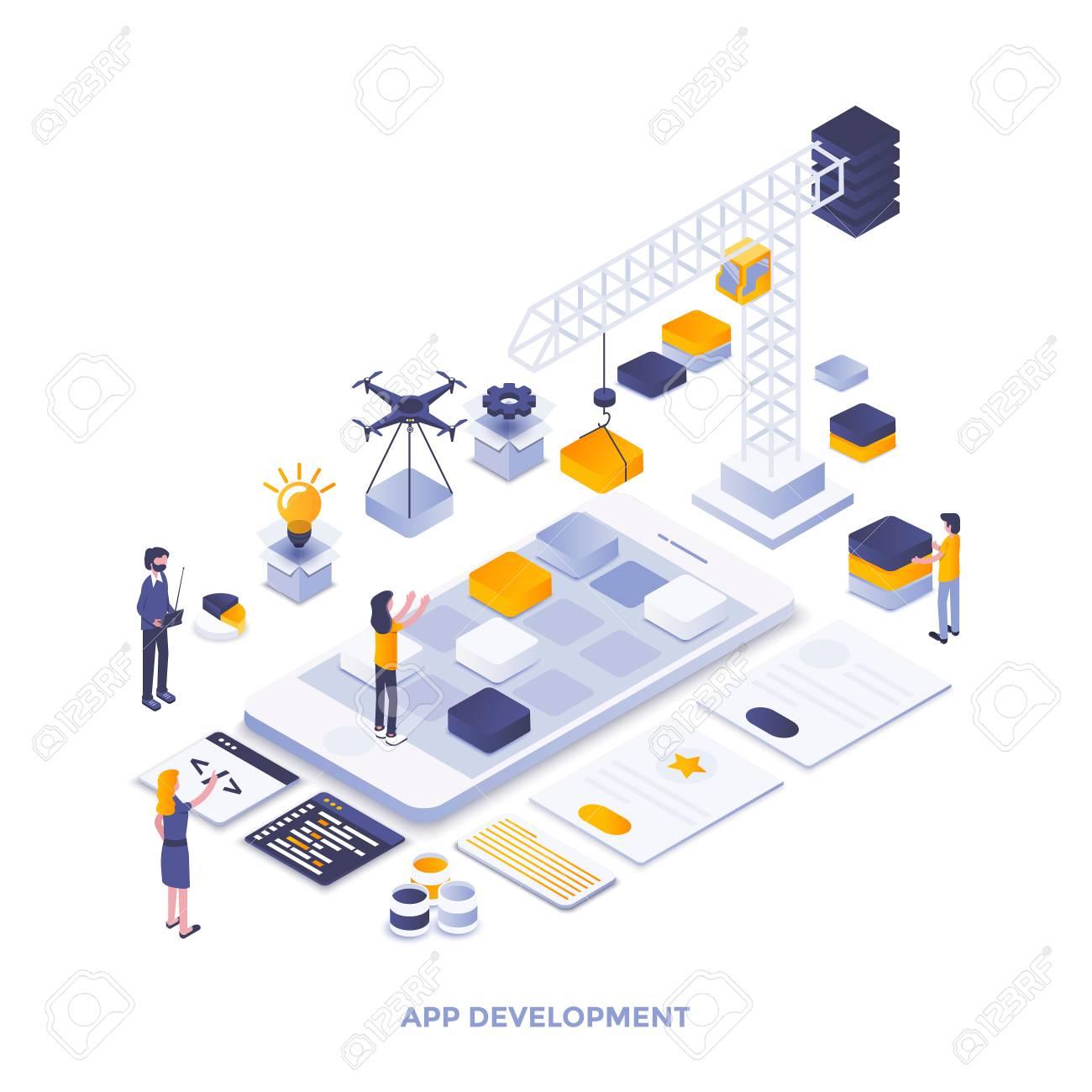 Modern flat design isometric illustration of App development