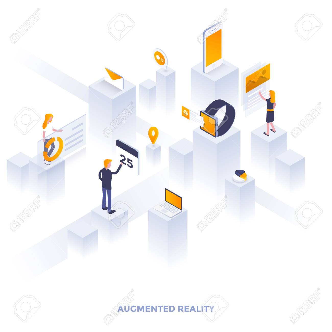 Modern flat design isometric illustration of Augmented Reality