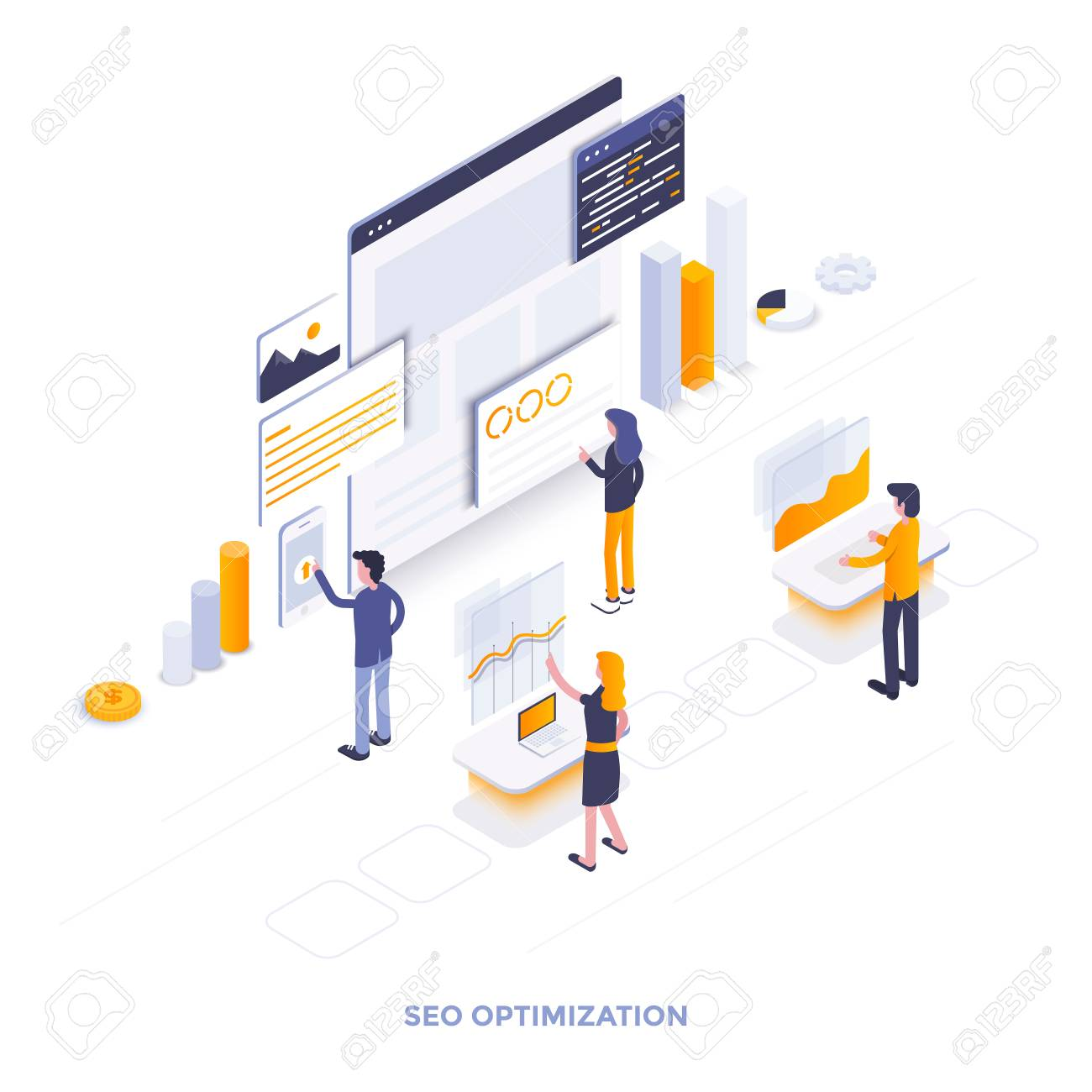 Modern flat design isometric illustration of Seo optimization. Can be used for website and mobile website or Landing page. Easy to edit and customize. Vector illustration - 104370479