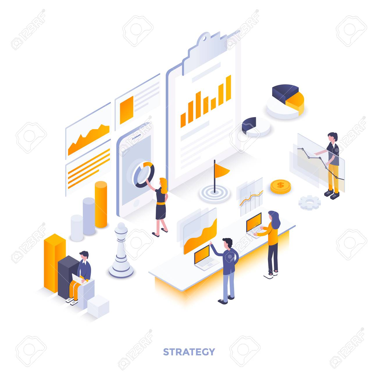 Modern flat design isometric illustration of Strategy. Can be used for website and mobile website or Landing page. Easy to edit and customize. Vector illustration - 104370481