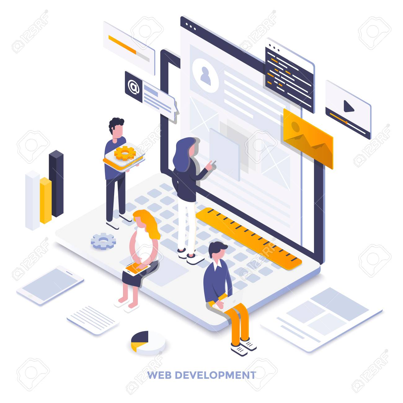 Modern flat design isometric illustration of Web Development. Can be used for website and mobile website or Landing page. Easy to edit and customize. Vector illustration - 104370482