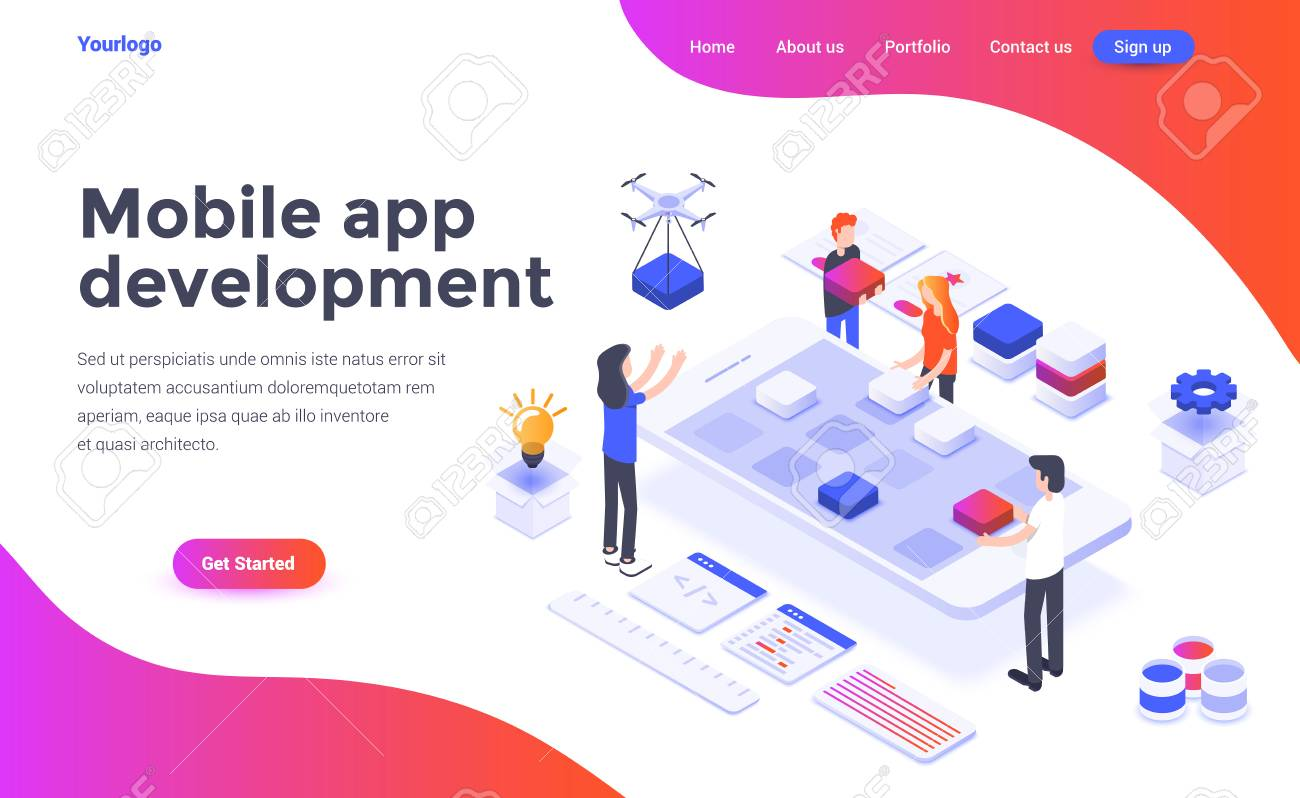 Modern flat design isometric concept of Mobile app development for website and mobile website. Landing page template. Easy to edit and customize. Vector illustration - 111582104