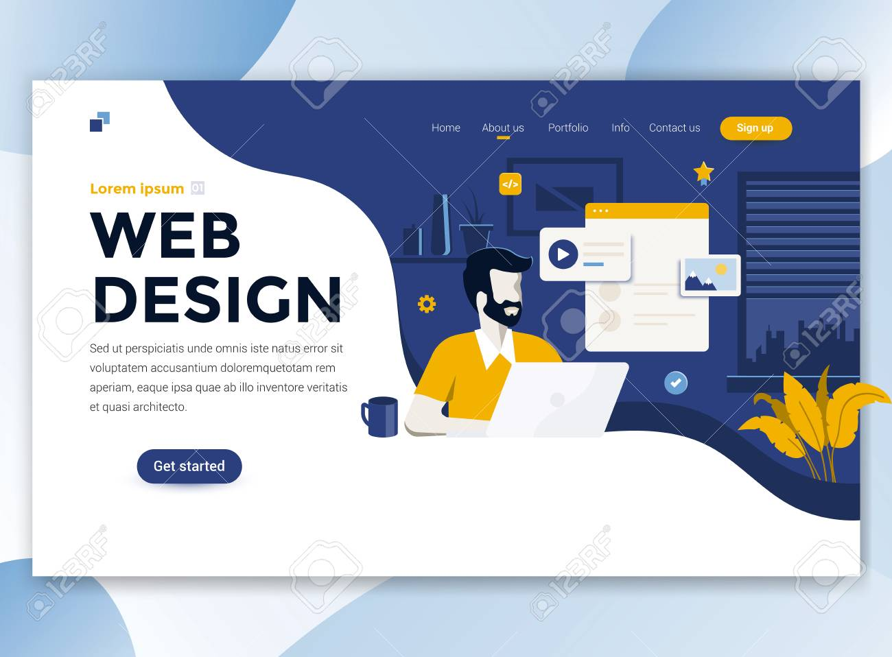Landing Page Template Of Web Design Modern Flat Design Concept Royalty Free Cliparts Vectors And Stock Illustration Image 110267002
