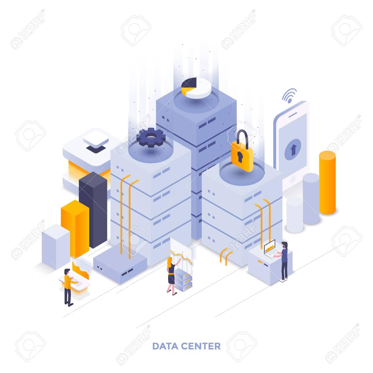 Modern flat design isometric illustration of Data Center  Can