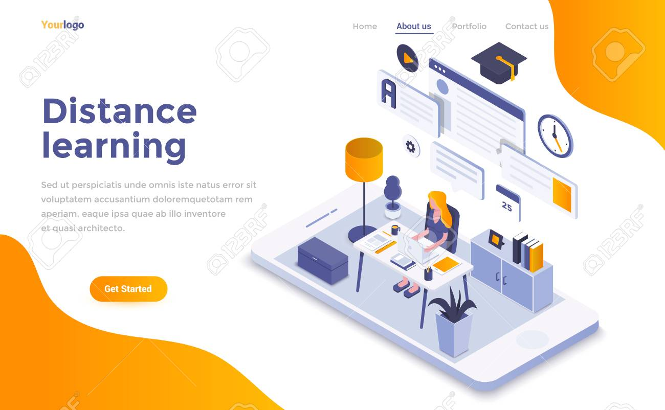 Modern flat design isometric concept of Distance Learning for website and mobile website. Landing page template. Easy to edit and customize. Vector illustration - 109926567