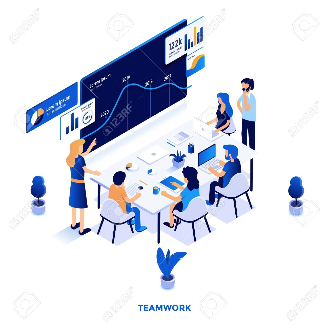 Modern flat design isometric illustration of Teamwork. Can be used for website and mobile website or Landing page. Easy to edit and customize. Vector illustration - 126264052