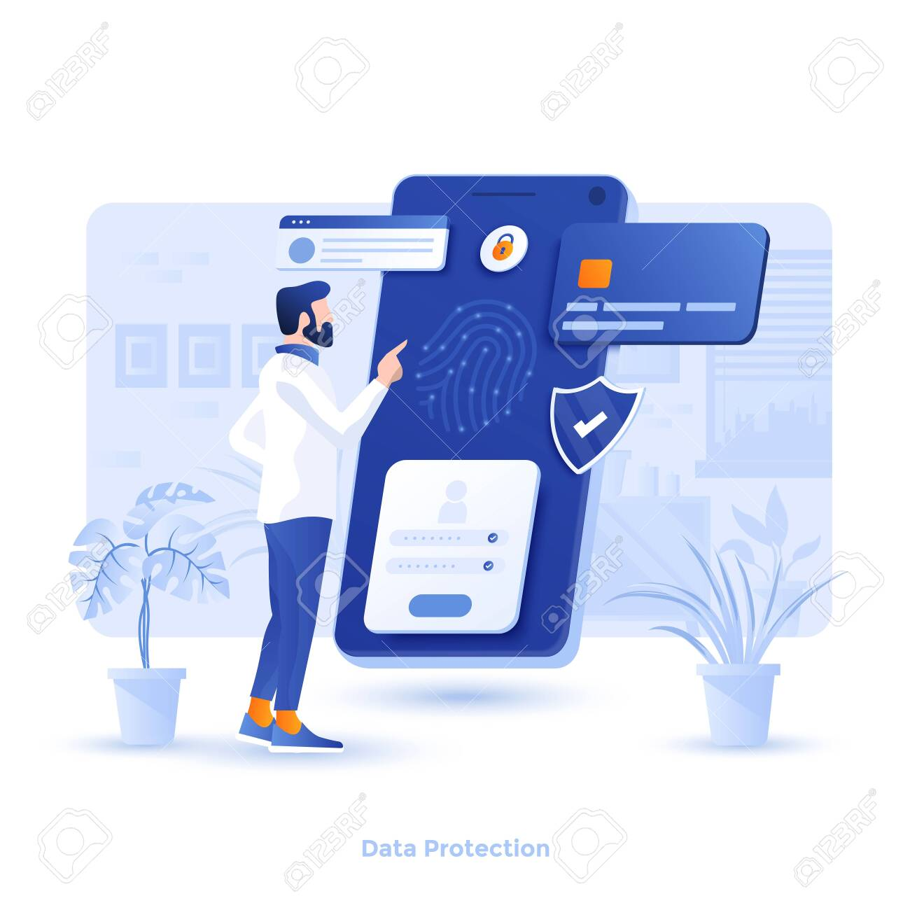 Modern flat design illustration of Data Protection. Can be used for website and mobile website or Landing page. Easy to edit and customize. Vector illustration - 134806537