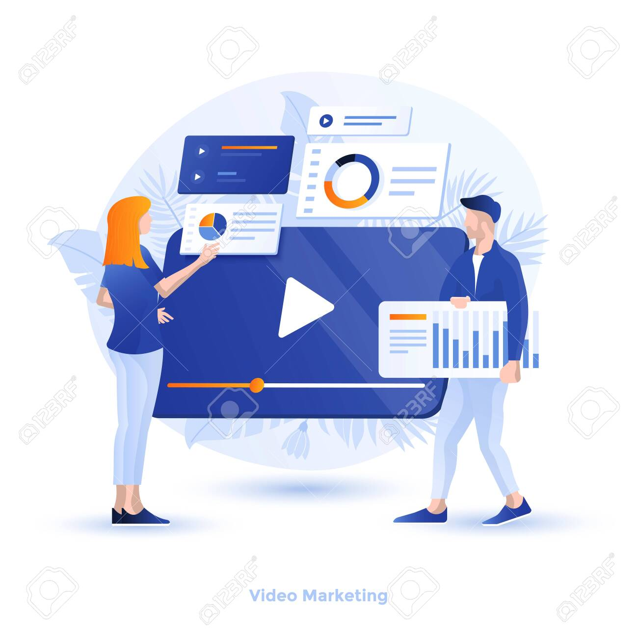 Modern flat design illustration of Video Marketing. Can be used for website and mobile website or Landing page. Easy to edit and customize. Vector illustration - 134806561