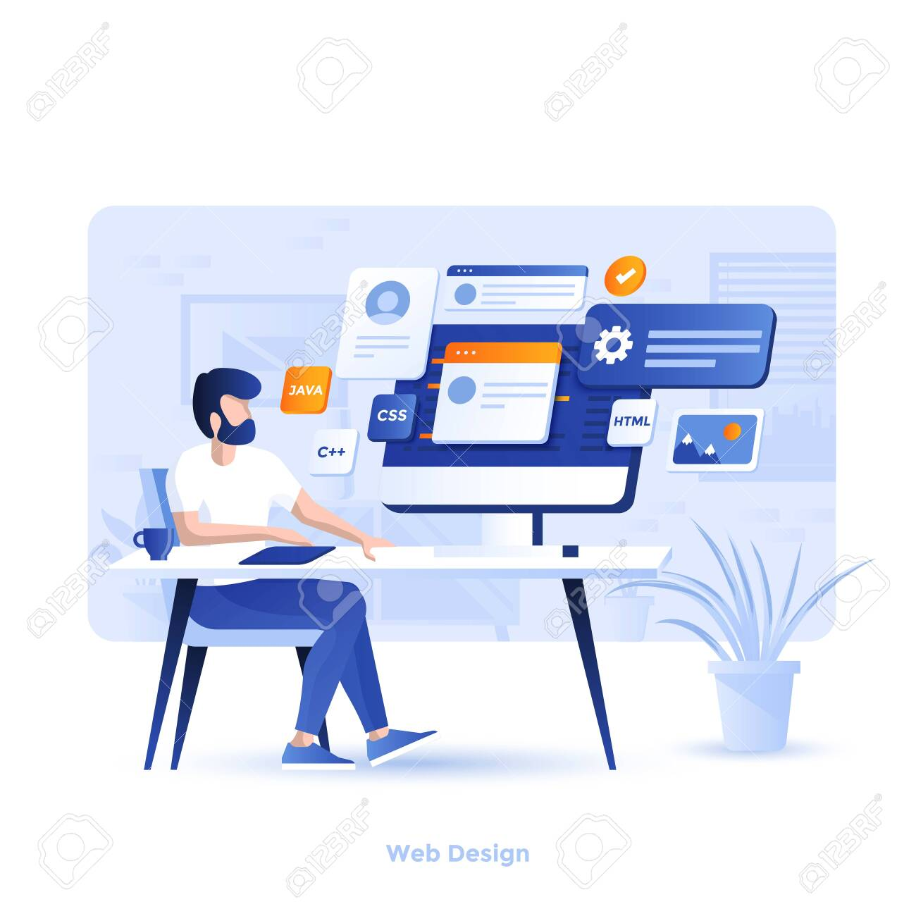 Modern flat design illustration of Web Design. Can be used for website and mobile website or Landing page. Easy to edit and customize. Vector illustration - 134806566