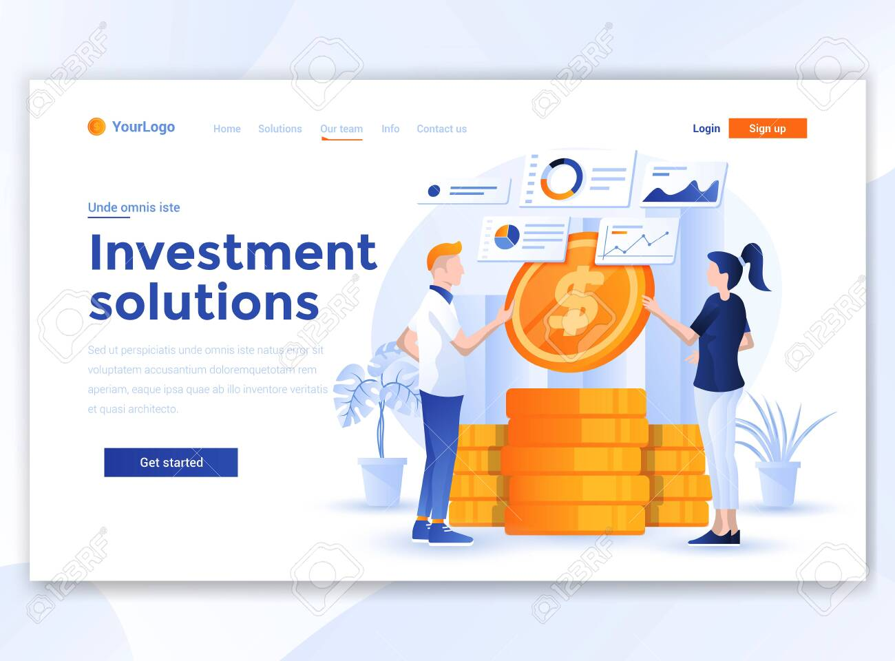 Landing page template of Investment Solutions. Modern flat design concept of web page design for website and mobile website. Easy to edit and customize. Vector illustration - 134806583