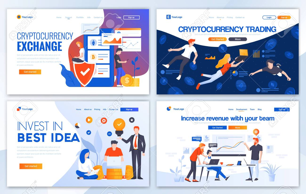 Set of Landing page design templates for Cryptocurrency trading, Invest in best idea and Incease your revenue. Easy to edit and customize. Modern Vector illustration concepts for websites - 134411984