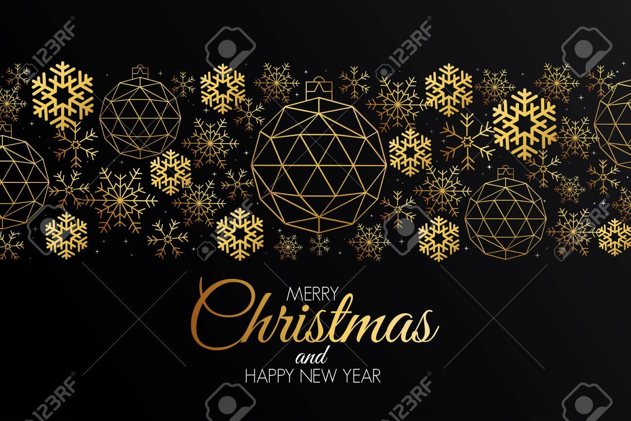 Christmas colorful greeting card made in polygonal origami style. Party poster, greeting card, banner or invitation. Ornaments formed by triangles. - 135779367