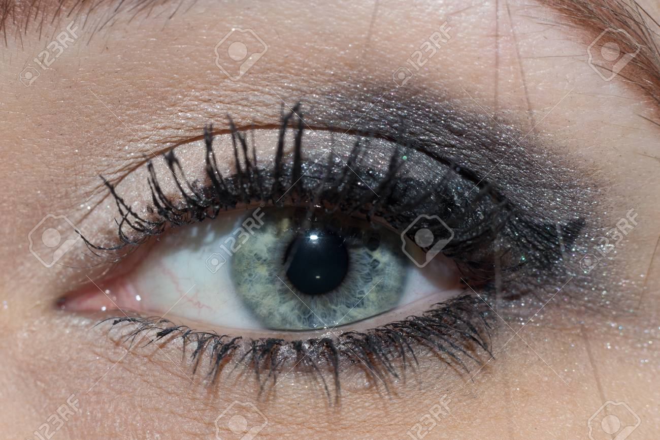 Eye Close Up Makeup Woman Green Eyes Macro Stock Photo Picture And