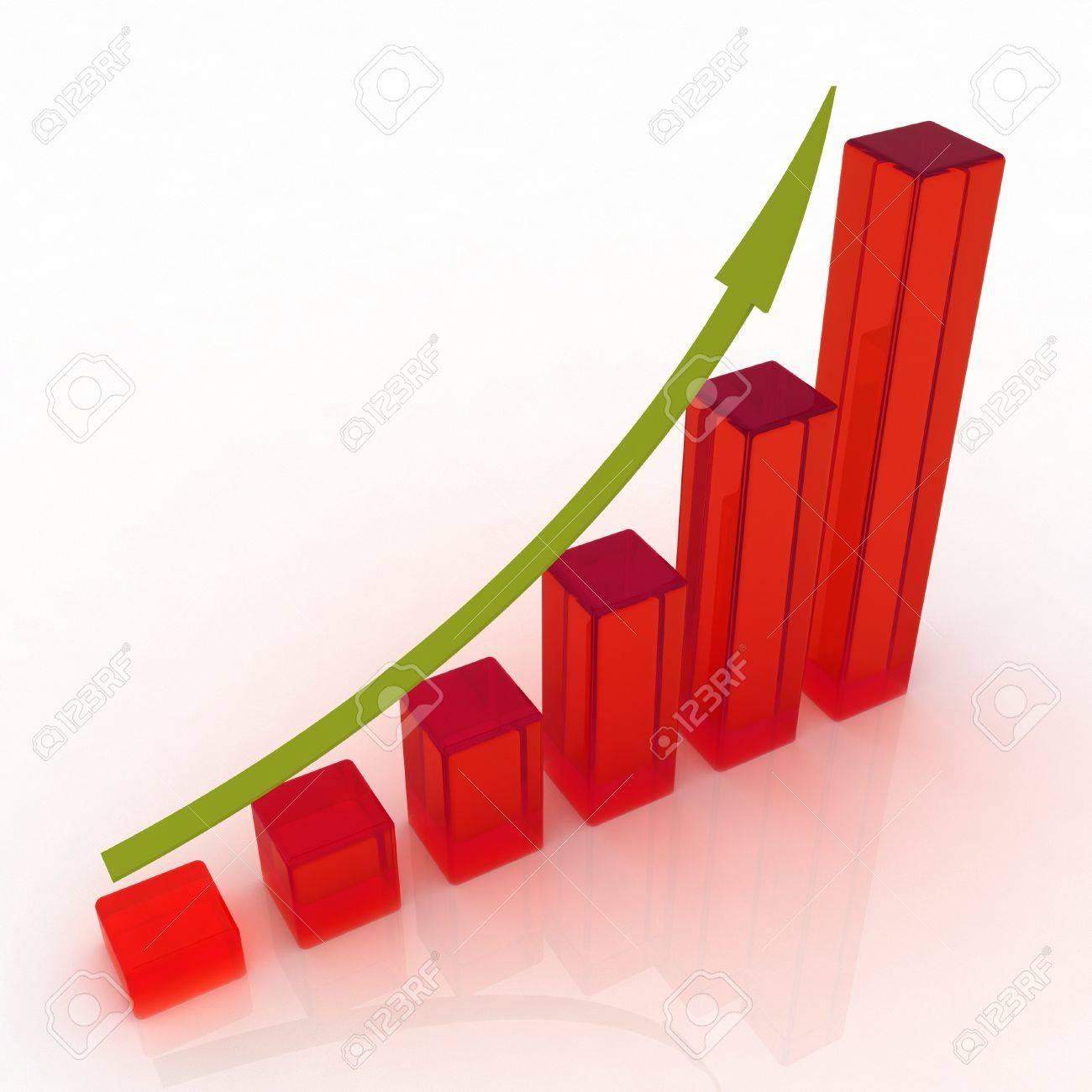 3D growing business graph Stock Photo - 10608931