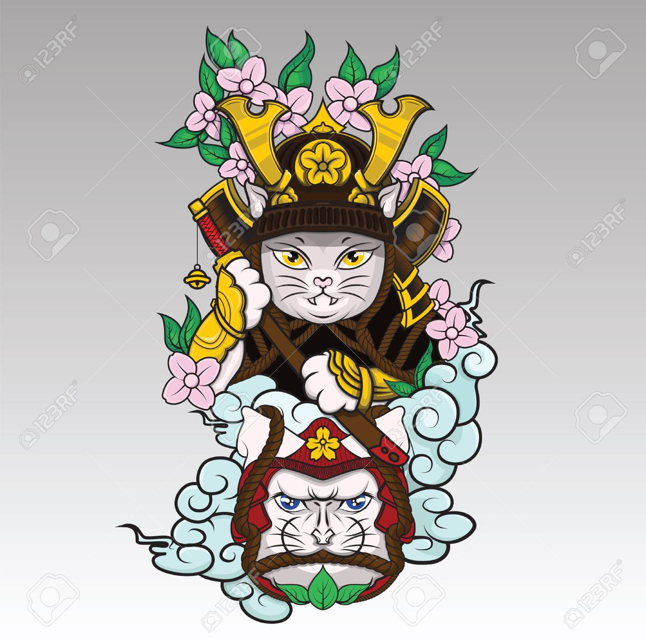Cat Samurai On Colud And Sakura Blossom Japanese Tattoo Style Royalty Free Cliparts Vectors And Stock Illustration Image 126236741