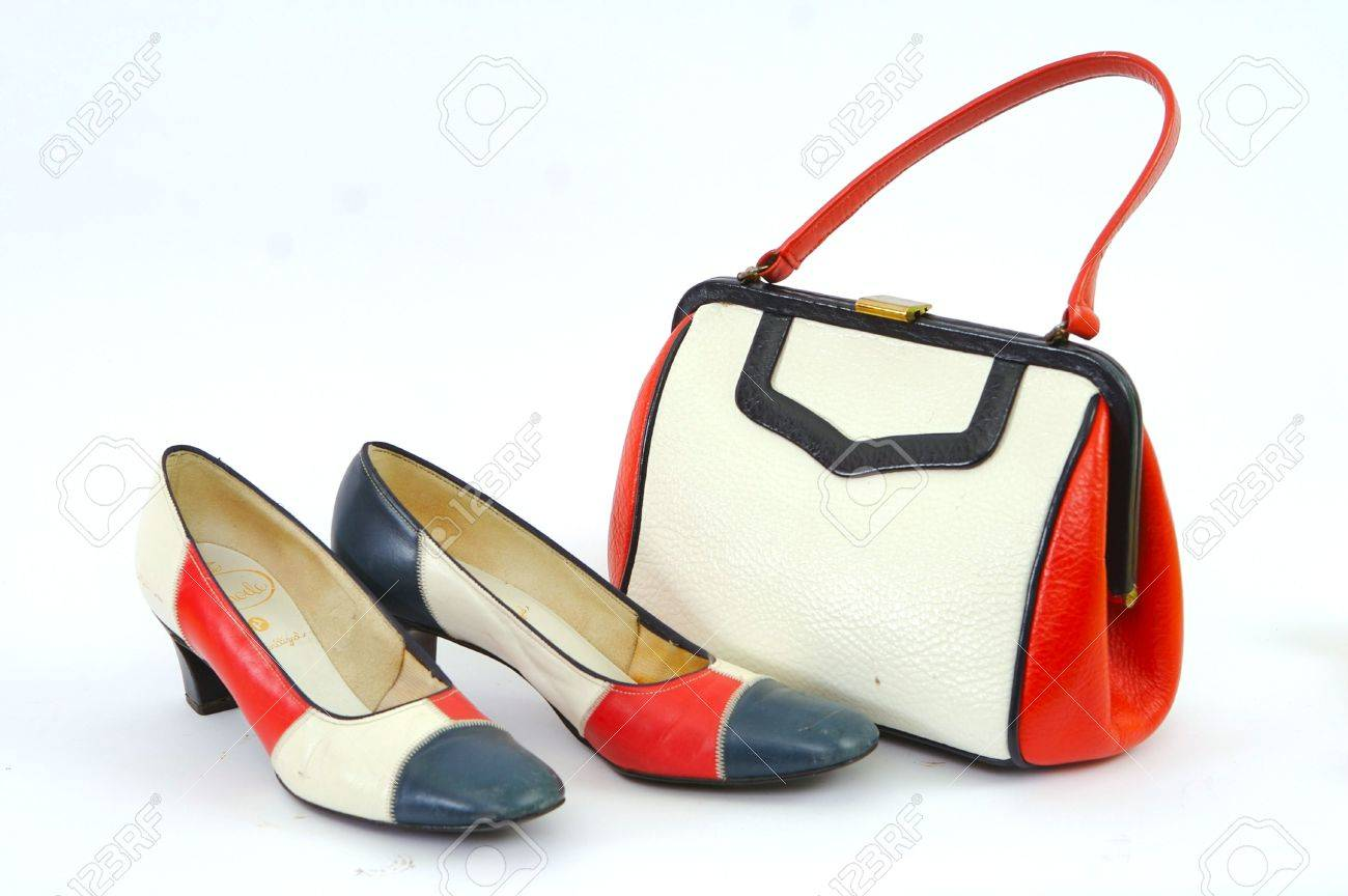 Red White And Blue Mod Purse And Shoes Stock Photo Picture And