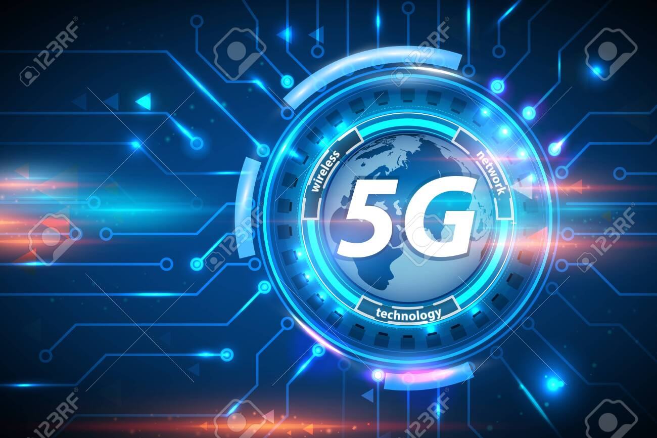 5G wireless network technology concept background. 5G cellular mobile networks is high-speed Internet for new generation phones. 5G global innovation vector illustration - 143748483
