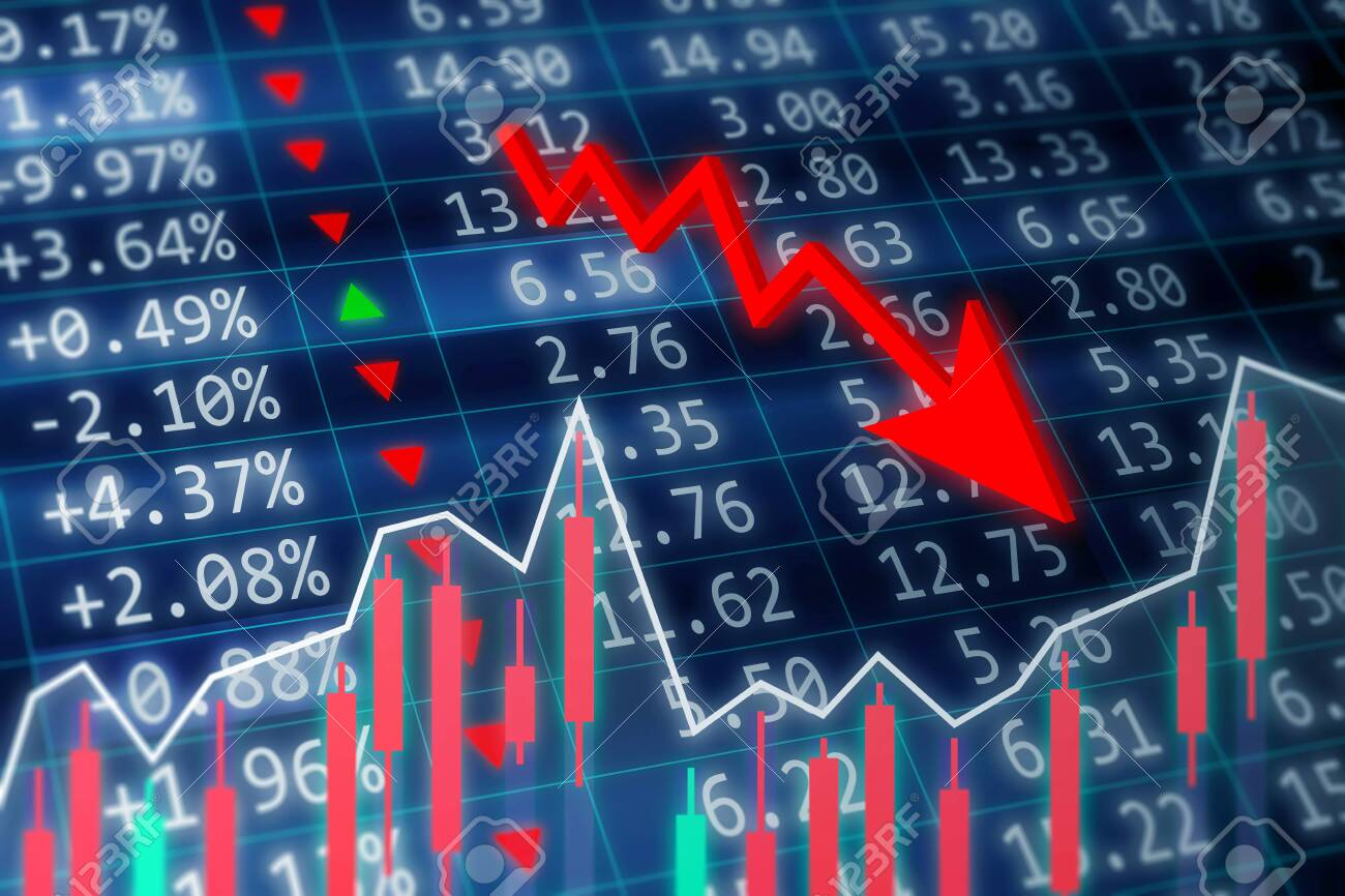Stock market crash concept. A stock market crash is a sudden dramatic decline of stock prices across a major cross-section of a stock market. Financial data on a monitor with green arrow going up and red, green candle stick graph chart on dark background - 155781030