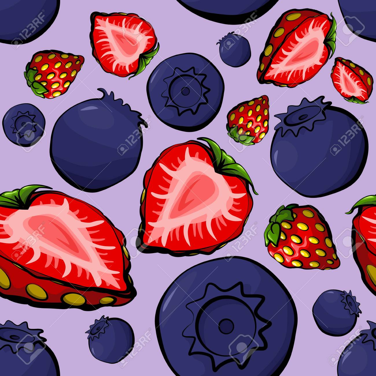 Seamless pattern with blueberry and strawberry Stock Vector - 18984819