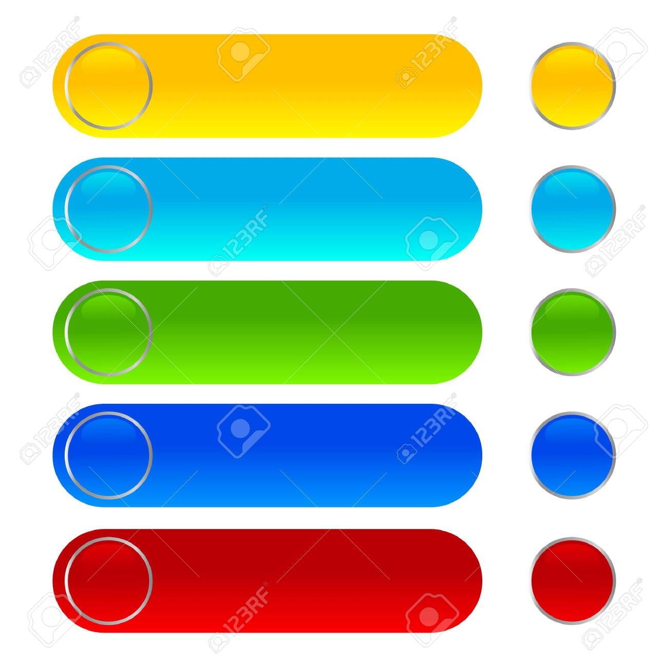 Shiny web buttons different color icons - 124355826