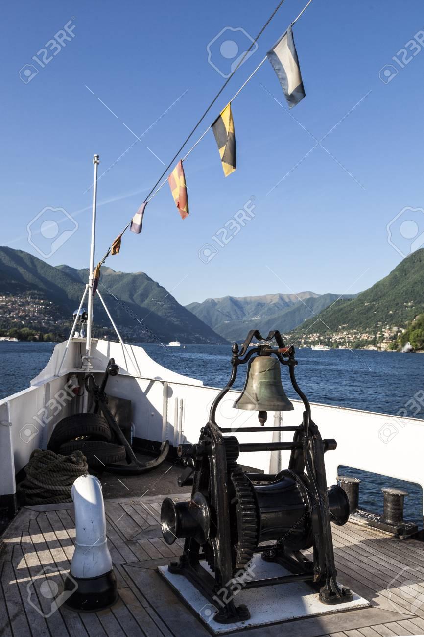 Boat sailing on Como Lake. Italy - 97244009