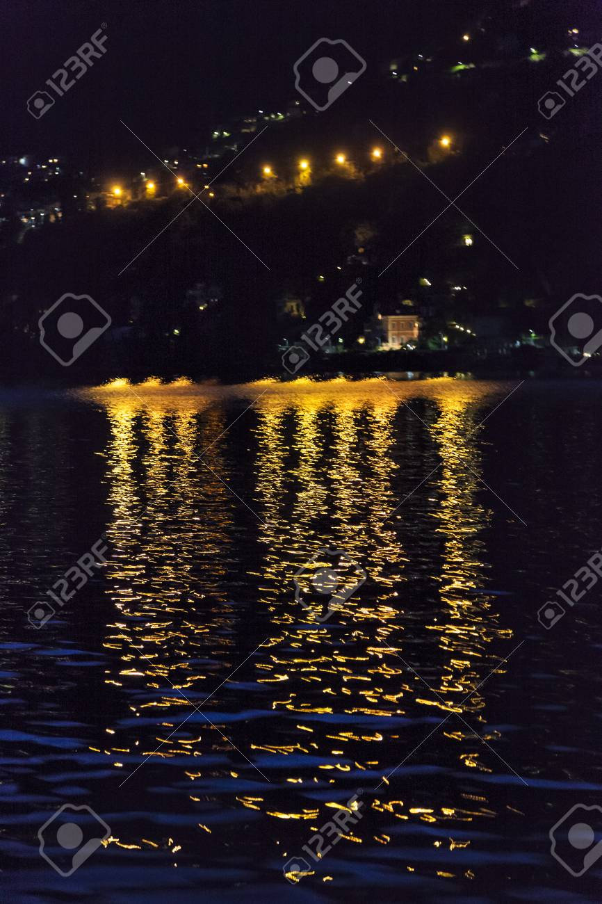 Nightscape view of the lake. Como. Como Lake, Italy - 97210983